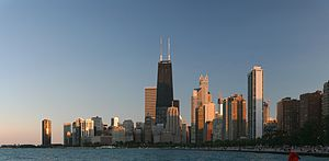 Deutsch: Chicago am Ufer des Lake Michigan Eng...