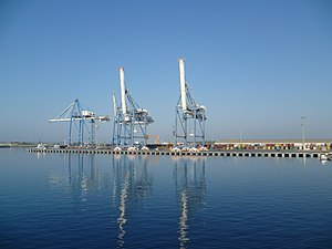 Cranes in the harbour of Limassol, Cyprus