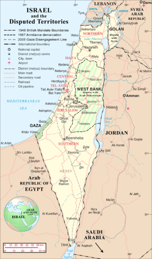 English: Map of Israel, Palestinian Controlled...