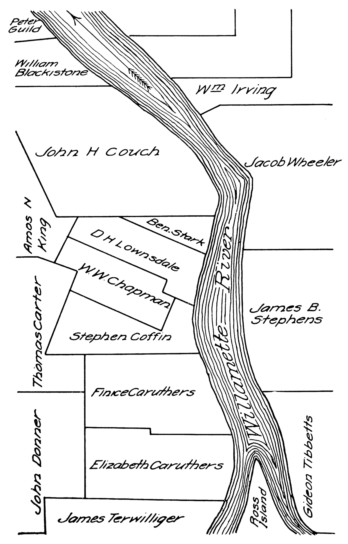 File:Map of Portland, Oregon land claims from Gaston book