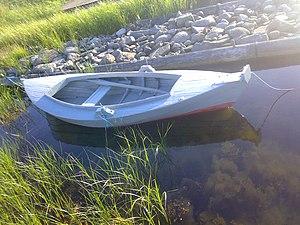Pram (boat) at Hasslö, Sweden