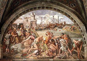 Raphael's fresco The Battle of Ostia, an indic...