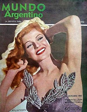 English: Rita Hayworth on the cover of an Arge...