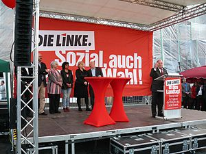 English: Wahlkampfveranstaltung der Partei Die...