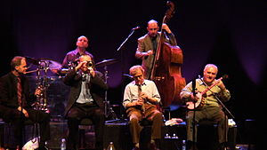 Woody Allen and his band at jazz concert in Li...