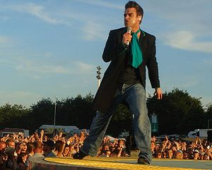 Robbie Williams in concert in Hamburg, Germany...
