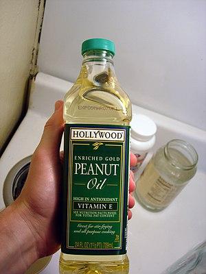 A bottle of peanut oil.