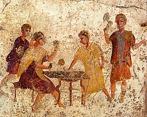 Dice players. Roman fresco from the Osteria de...