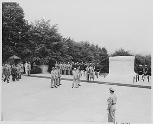 President Truman attends Memorial Day ceremony...