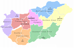 Regions of Hungary with their regional centres