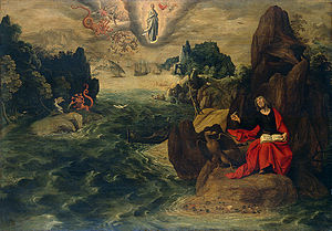 English: Landscape with St John the Evangelist...