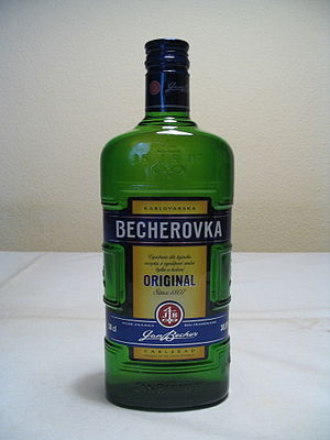A bottle of Becherovka, a bitters made in the ...