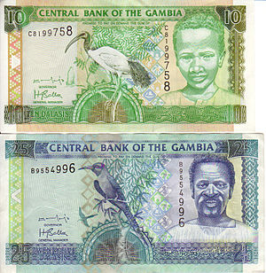 Obverse of 10 and 25 dalasi note
