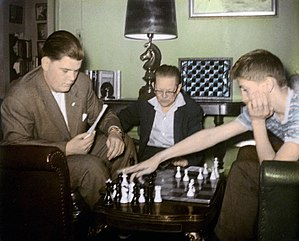 Jack Collins with Bill Lombardy and Bobby Fischer.