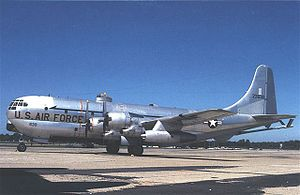 A U.S. Air Force Boeing KC-97L Stratofreighter...