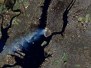 Landsat 7 image of Manhattan on September 12, ...