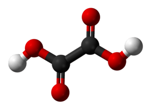Ball and stick model of the oxalic acid molecule.