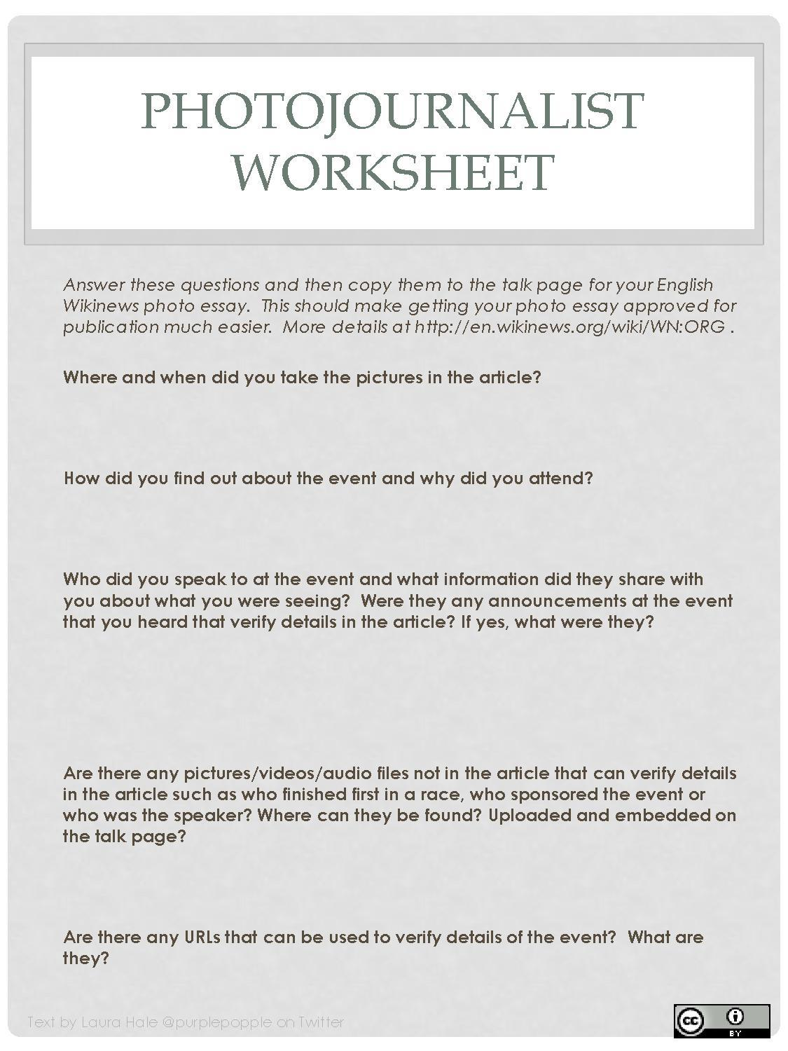 File Photojournalist Worksheet
