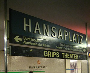 Station sign in the Berlin U-Bahn station Hans...