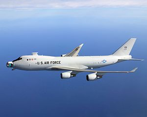 YAL-1A Airborne Laser in flight with the mirro...