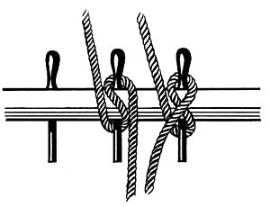 English: Line art drawing of belaying pins.