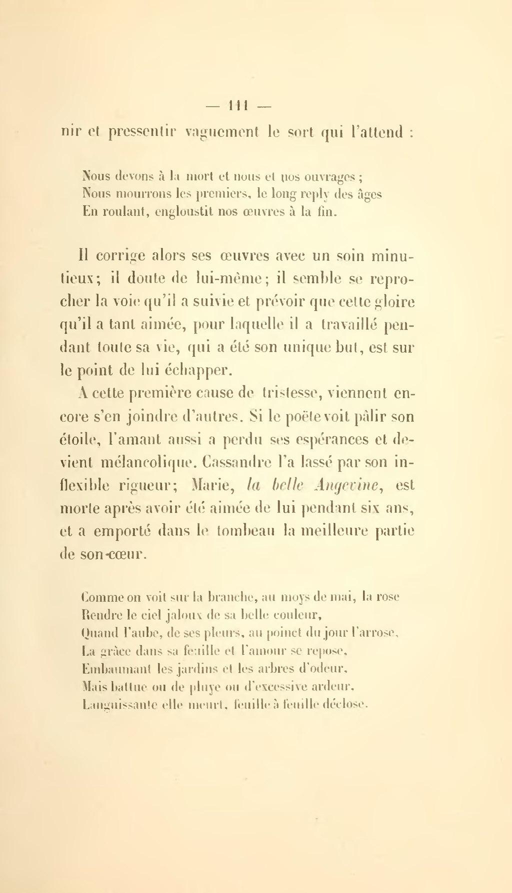 Comme On Voit Sur La Branche Au Mois De Mai La Rose : comme, branche, Page:Chalandon, Essai, œuvres, Ronsard,, 1875.djvu/123, Wikisource