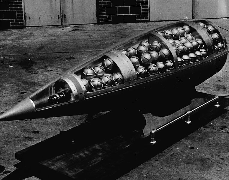 American Honest John Missile with Sarin bomblets, 1943.  Image in the public domain.
