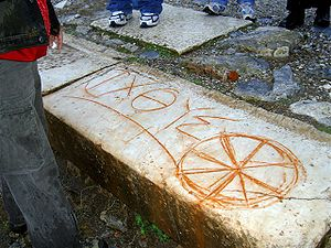 An early Christian ichthys symbol carved into ...