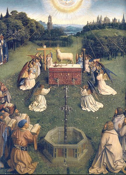 From the Ghent Altarpiece, Adoration of the Mystic Lamb, by Hubert van Eyck and Jan van Eyck.