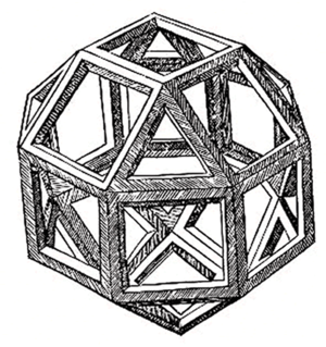 The first printed illustration of a rhombicubo...