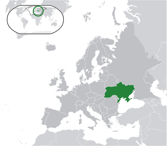 Ukraine (dark green) / Europe (dark g...