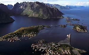 Picture of Reine, Lofoten, Norway. Seen from t...