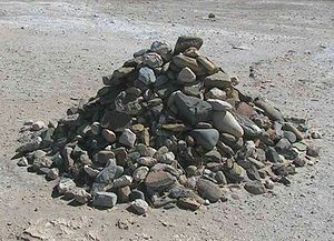 English: Pile of rocks started by Nelson Mande...