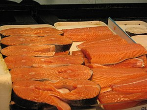 Salmon intended for consumption as food