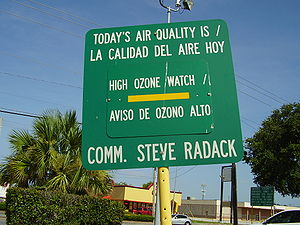 Air quality signboard indicating an ozone watc...