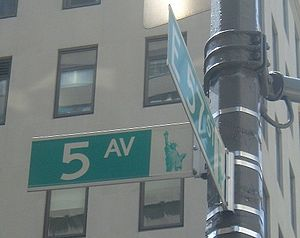 Street sign at corner of Fifth Avenue and East...