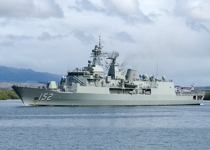 US Navy 100707-N-0641S-247 HMAS Warramunga (FFH 152) departs Joint Base Pearl Harbor-Hickam to support Rim of the Pacific (RIMPAC) 2010 exercises
