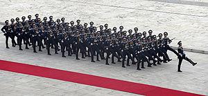 Members of the Vietnamese Guard of Honor condu...