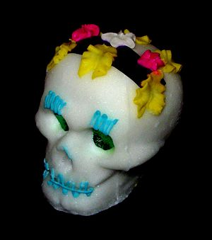 Sugar skull given for the Day of the Dead. The...