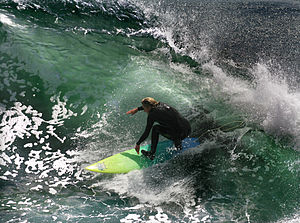 English: A California surfer. Santa Cruz and t...