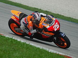 Spanish MotoGP rider Dani Pedrosa powers his H...