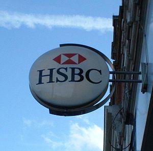 中文: HSBC标志,2004年3月由C Ford拍摄(来自英文维基百科)。本图片在GFDL...