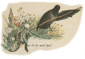 English: Crow cutting grass with a scythe. Ill...