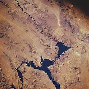 Lake Mead from space, November 1985. North is ...