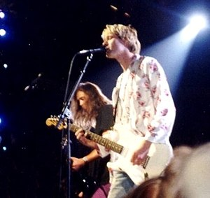 Kurt Cobain (front) and Krist Novoselic (left)...