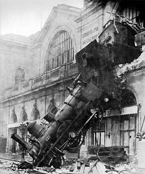Train wreck at Montparnasse Station, at Place ...