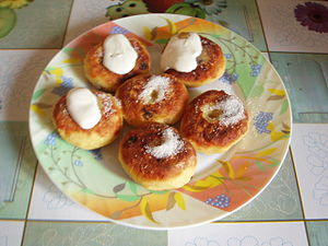 Syrniki. Syrniki, fried quark cheese pancakes,...