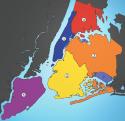 Manhattan, Brooklyn, Queens, The Bronx, Staten Island