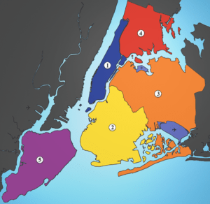 A map showing the five boroughs of New York Ci...
