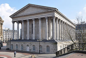 English: Birmingham Town Hall from Chamberlain...